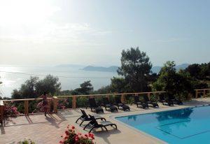 Pool and sea view at Faralia Hotel Faralya village Fethiye Turkey