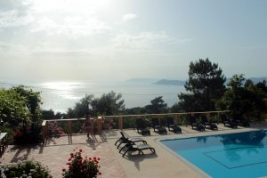 Pool and sea view at Faralia Hotel Faralya village Fethiye Turkey
