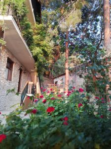 Faralia Hotel garden view with colorful flowers