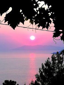 Sunset view over mediterranean sea in Faralia Hotel